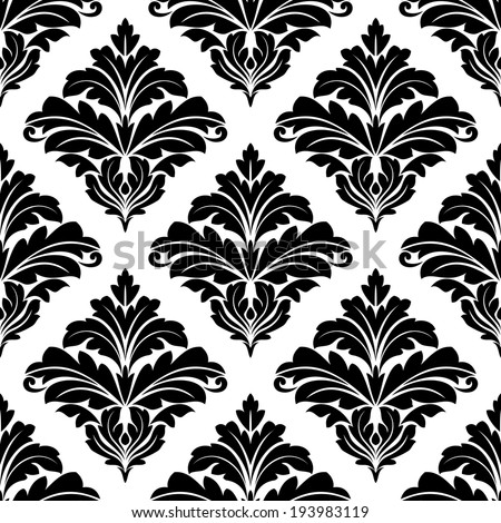 Geometric seamless arabesque pattern with foliate elements in a black and white diamond lattice suitable for textile and print. Vector version also available in gallery - stock photo