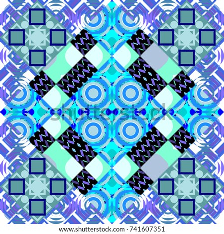 Geometric seamless pattern. Abstract background. Tiles blue, violet and white background.