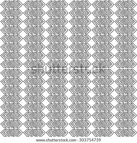 Geometric seamless pattern in ethnic style. Black and white graphics, diamonds, triangles, painted by hand.