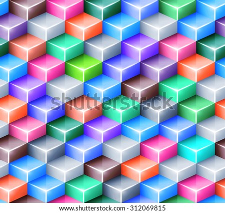 Geometric seamless pattern with bright colored cubes. Tiled mosaic background with 3D glass boxes. Web design concept. - stock photo