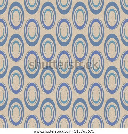 Geometric seamless pattern with colorful ovals on old paper background - stock photo