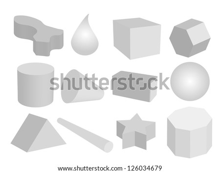 Geometric Shape, Grey Color Objects or Figures Create into A Sphere, Triangle, Hexagon, Cylinder, Cone, Drop and Cube - stock photo