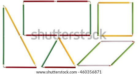 Geometric shapes composed of colored pencils on white background. Rectangular triangle, isosceles triangle, rectangle, square, rhombus.