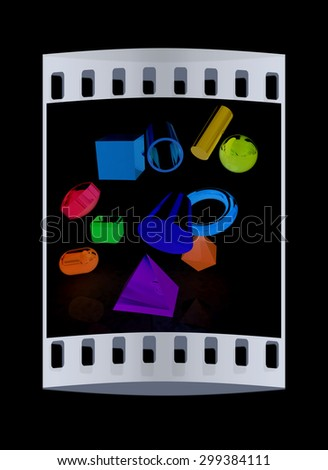 Geometric shapes on a black background. The film strip - stock photo