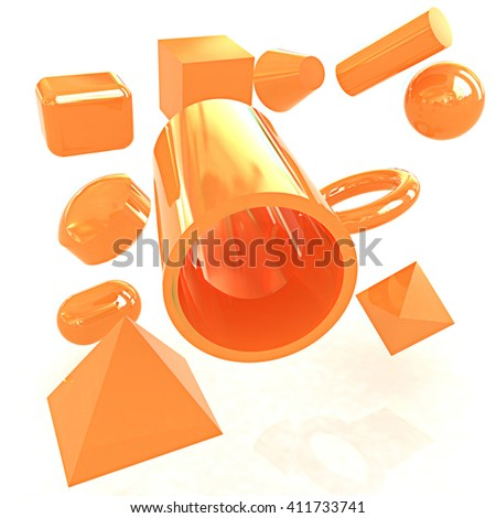 Geometric shapes on a white background. 3D illustration. Anaglyph. View with red/cyan glasses to see in 3D. - stock photo
