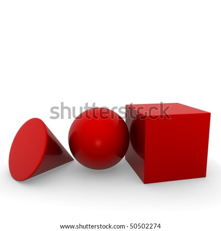 geometric solid red - stock photo