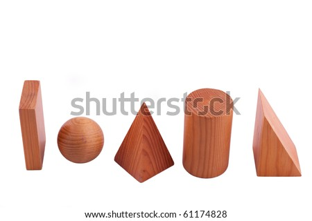 geometric solids isolated on white, studio shot - stock photo
