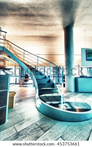 Geometric staircase inside a modern office building. Corporate and business concept.