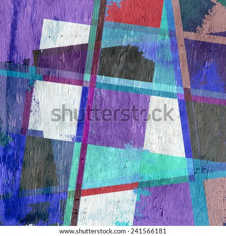 geometric stripes with wood grain texture - stock photo