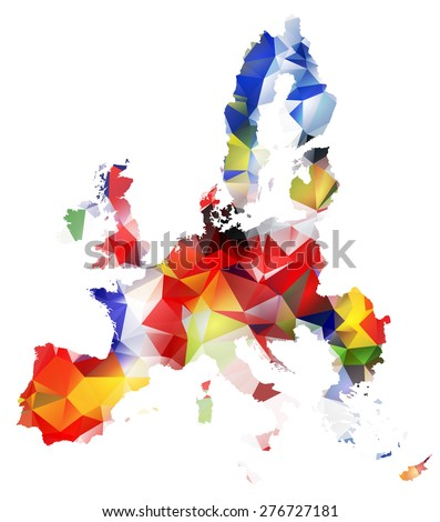 GEOMETRIC TRIANGLE DESIGN MAP OF THE EUROPEAN UNION. THE MAP PAINTED INTO COUNTRIES FLAGS COLORS.Raster illustration. - stock photo