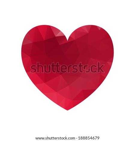 Geometric triangle heart - stock photo