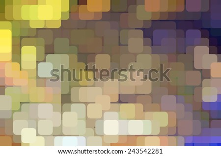 Geometric varicolored abstract of city lights on a grid, with rounded squares overlapping for illusion of three dimensions - stock photo