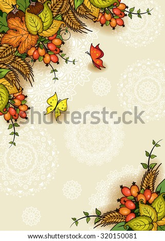 Geometric vertical floral autumn background with butterflies - stock photo