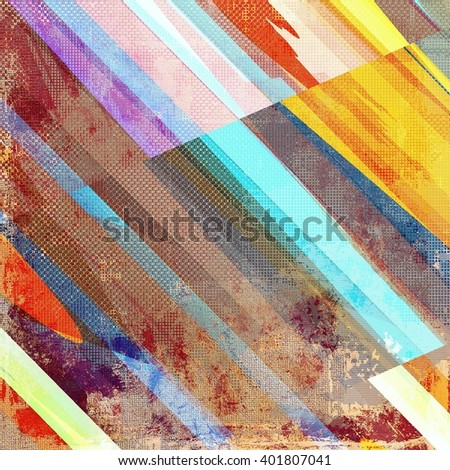 Geometric vintage design background - Grungy style ancient texture with different color patterns: yellow (beige); brown; blue; red (orange); purple (violet) - stock photo