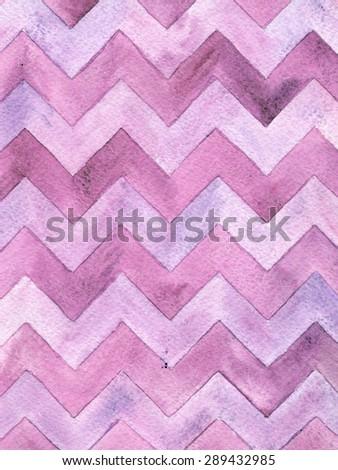 Geometric watercolor chevron pattern. Lilac background. Vintage card. - stock photo