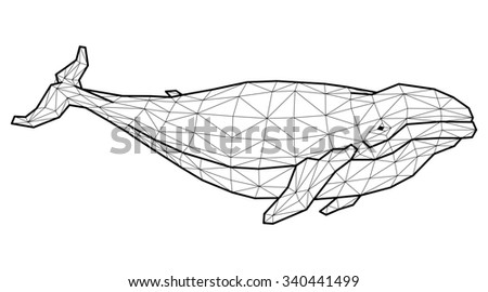Geometric whale with many triangles  - stock photo