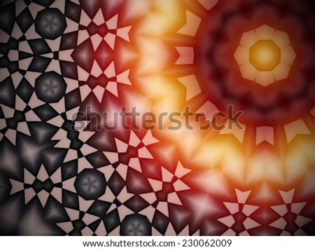 Geometric yellow, red, beige and black colored pattern with symmetric angular shapes forming a concentric abstract representation, referring to concepts such as christmas, a warming feeling, or hope - stock photo