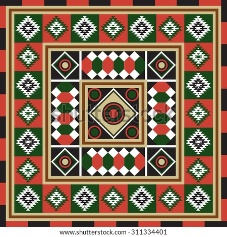 Geometrical abstract pattern from decorative ethnic ornament elements