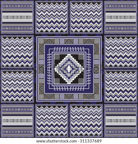 Geometrical Abstract Pattern From Decorative Ethnic Ornament Elements African Mexican Turkmen Texture