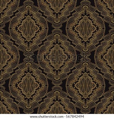 Geometrical Abstract Seamless Art Deco Pattern Stock