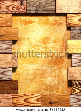 Geometrical 3d background with wooden boxes