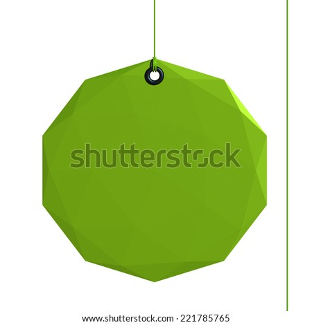 Geometrical label, green shape fixed by a rivet and hung on by a green thread, isolated on white background - stock photo