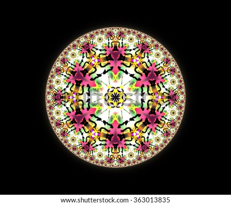 Geometrical mandala, round, triangle and hexagon ornament pattern. Illustration background.