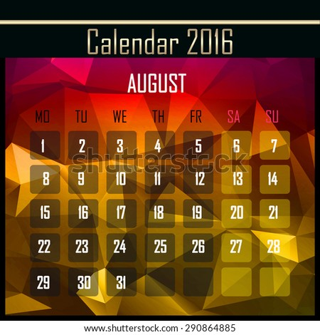 Geometrical polygonal triangles 2016 calendar design for august month - stock photo