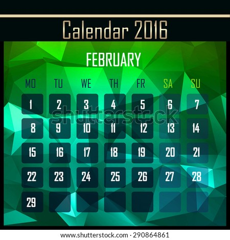 Geometrical polygonal triangles 2016 calendar design for february month - stock photo