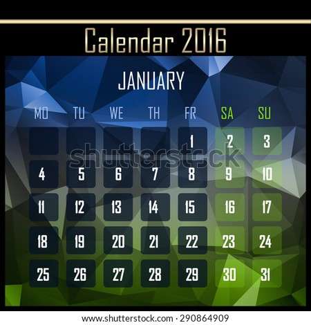 Geometrical polygonal triangles 2016 calendar design for january month - stock photo