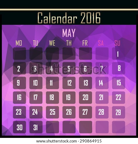 Geometrical polygonal triangles 2016 calendar design for may month - stock photo