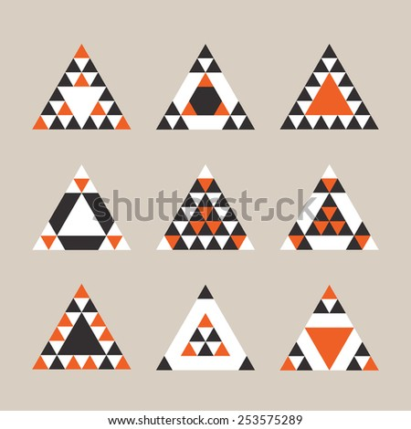 Geometrical tile equilateral triangles icons set - Modern flat design in orange, black, and white on khaki background - stock photo