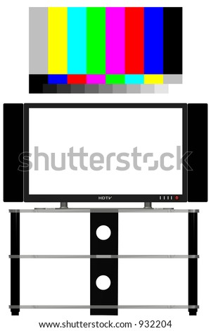 Geometrically precise 3D render of an HDTV, free of glare, shadows; isolated--- INCLUDES a real 16x9 video test pattern, color-correct and up-scalable to any size. - stock photo
