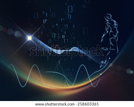 Geometry of Man series. Visually attractive backdrop made of Human line drawing, math, geometry and design elements suitable as element for layouts on science, spirit, intelligence and education - stock photo