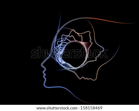 Geometry of Soul series. Abstract arrangement of profile lines of human head suitable as background for projects on education, science, technology and graphic design