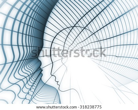 Geometry of Soul series. Abstract composition of profile lines of human head suitable as element in projects related to education, science, technology and graphic design - stock photo