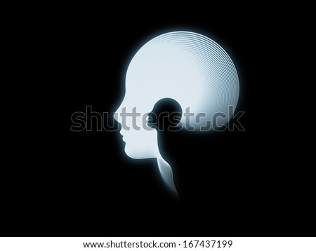 Geometry of Soul series. Arrangement of profile lines of human head on the subject of education, science, technology and graphic design - stock photo