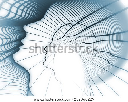 Geometry of Soul series. Background composition of  profile lines of human head to complement your layouts on the subject of education, science, technology and graphic design - stock photo