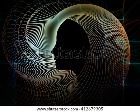 Geometry of Soul series. Interplay of profile lines of human head on the subject of education, science, technology and graphic design - stock photo