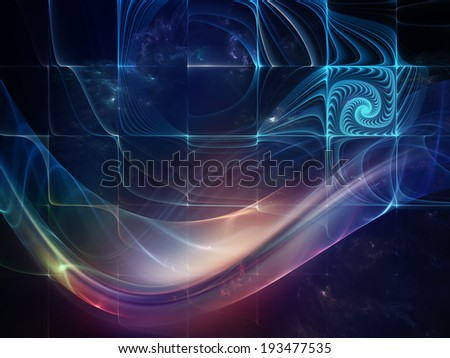 Geometry of Space series. Abstract design made of conceptual grids, curves and fractal elements on the subject of physics, mathematics, technology, science and education - stock photo