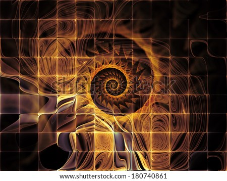 Geometry of Space series. Backdrop design of conceptual grids, curves and fractal elements to provide supporting composition for works on physics, mathematics, technology, science and education - stock photo
