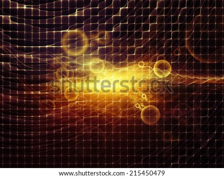 Geometry of Space series. Composition of conceptual grids, curves and fractal elements suitable as a backdrop for the projects on physics, mathematics, technology, science and education - stock photo