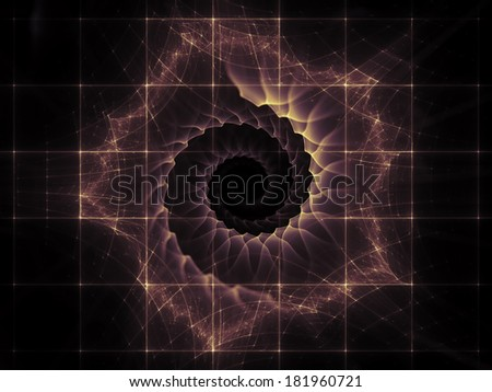 Geometry of Space series. Composition of conceptual grids, curves and fractal elements with metaphorical relationship to physics, mathematics, technology, science and education - stock photo