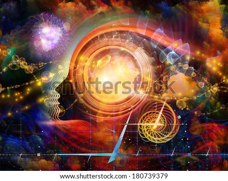 Geometry of the Soul series two. Arrangement of human profile and abstract elements on the subject of spirituality, science, creativity and human mind - stock photo