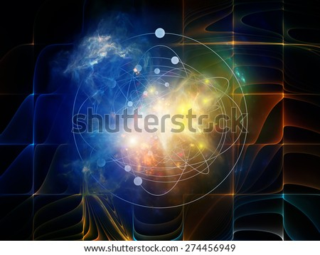 Geometry of Virtual Space series. Abstract arrangement of abstract shapes, colors and elements suitable as background for projects on virtual reality, technology, science and design - stock photo