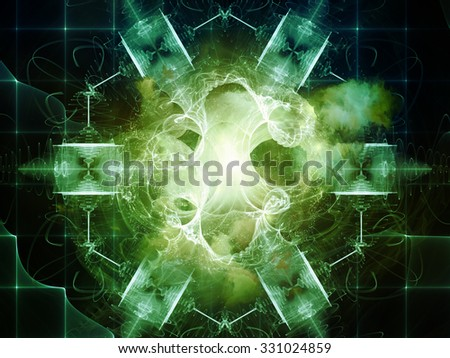 Geometry of Virtual Space series. Visually pleasing composition of abstract shapes, colors and elements to serve as  background in works on virtual reality, technology, science and design