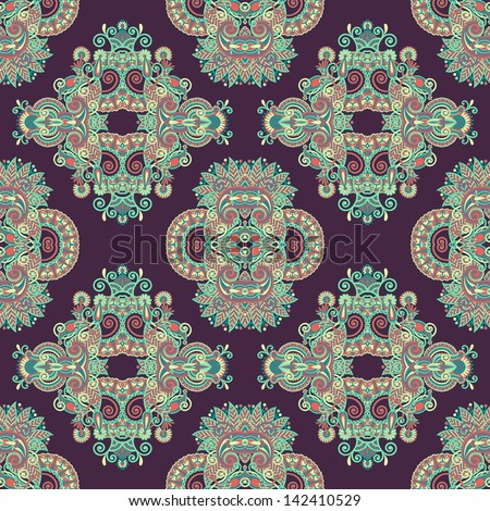 geometry paisley vintage floral seamless pattern, raster version - stock photo