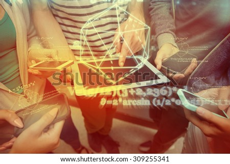 geometry problem against students using tablet pc and their smartphones - stock photo