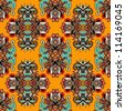 geometry vintage floral seamless pattern. Raster version - stock vector