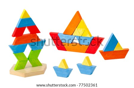 Geometry wooden toy block for kids how to learn to create and imagination - stock photo